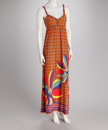 Orange Bloom Braided Maxi Dress