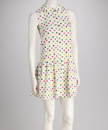 Ivory Polka Dot Drop-Waist Dress