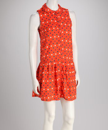 Orange Polka Dot Drop-Waist Dress