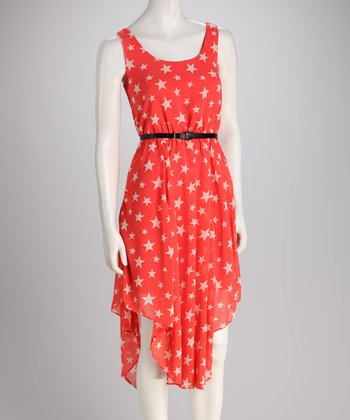 Coral Star Belted Dress