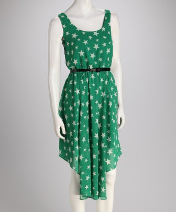 Green Star Belted Dress