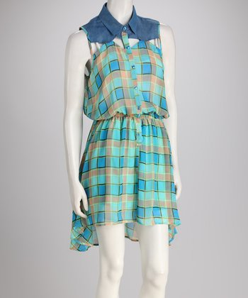Blue Plaid Sleeveless Dress