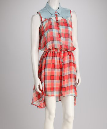Red Plaid Sleeveless Dress