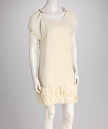 Ivory Sheer Chiffon Dress