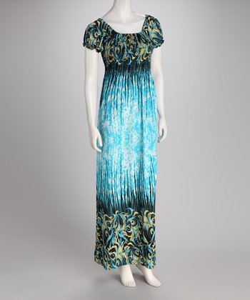 Blue Foliage Maxi Dress