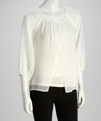 White Sheer Three-Quarter Sleeve Top