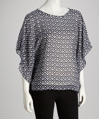 Black & White Cape-Sleeve Top