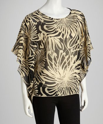 Black & Beige Cape-Sleeve Top