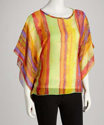 Yellow & Red Stripe Cape-Sleeve Top