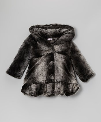 Black & Gray Faux Fur Coat - Toddler & Girls
