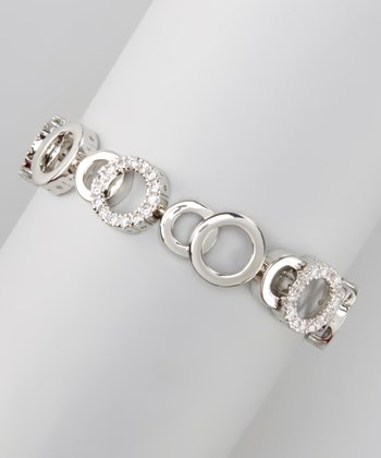 White Gold & Cubic Zirconia Circle Bracelet