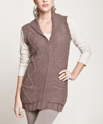 Ash Brown Zipper Alpaca Vest