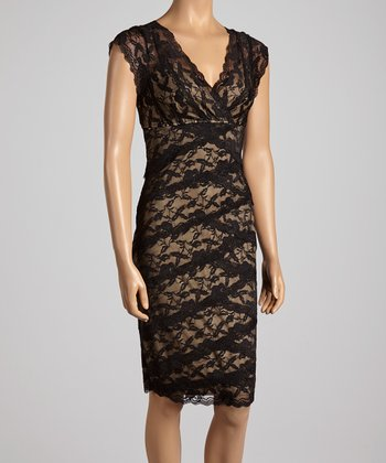 Black Vine Lace Surplice Dress