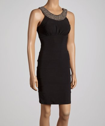 Black & Silver Beaded Yoke Dress