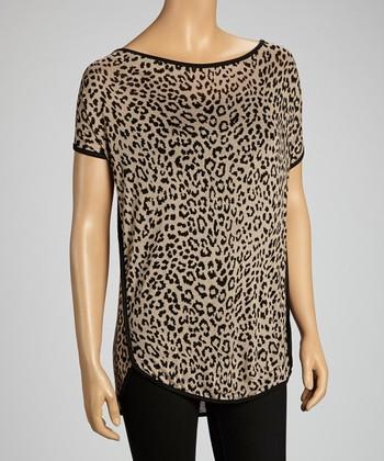 Beige Cheetah Scoop Neck Top