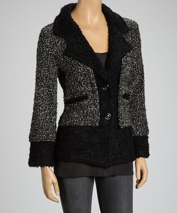 Charcoal & Black Wool-Blend Blazer