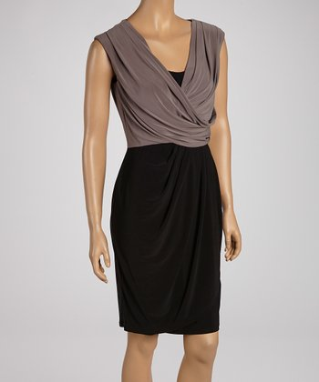 Black & Cocoa Drape Dress