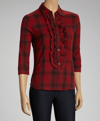 NINETY Red Ruffle Plaid Button-Up Top