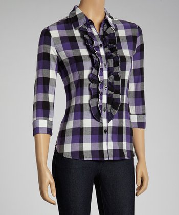 NINETY Purple Ruffle Gingham Button-Up Top