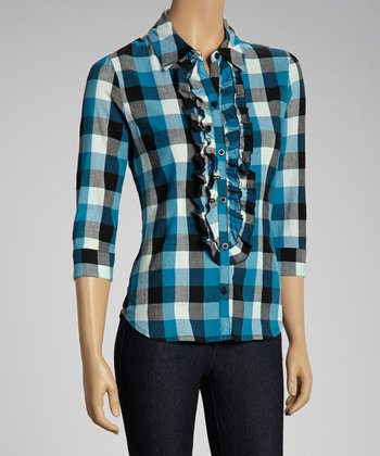 NINETY Blue Ruffle Gingham Button-Up Top