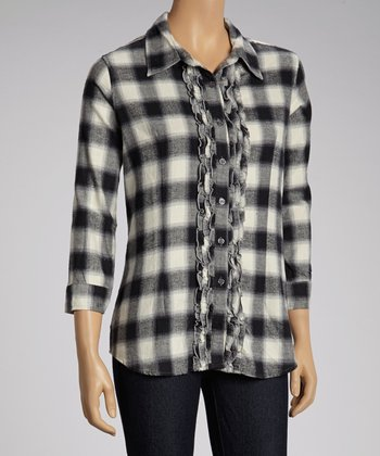 NINETY Black & White Ruffle Flannel Button-Up Top