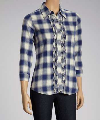 NINETY Navy & White Ruffle Flannel Button-Up Top