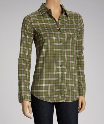 NINETY Olive Plaid Flannel Button-Up Top