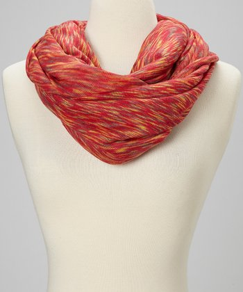 Burnt Red Wave Infinity Scarf