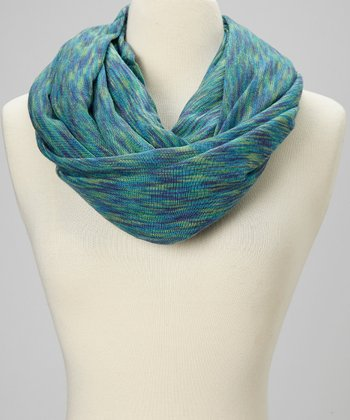 Green & Teal Wave Infinity Scarf