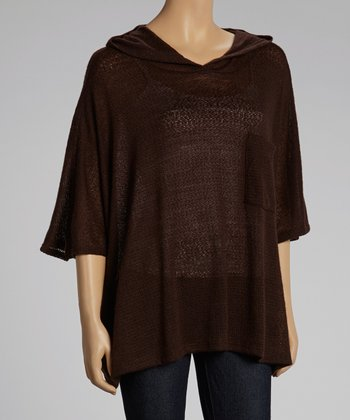 Brown Hooded Cape-Sleeve Sweater