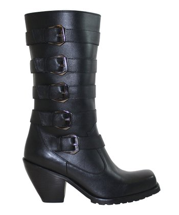 Black Quintet Buckle Leather Boot