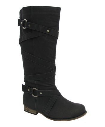 Black Buckle Strap Riding Boot