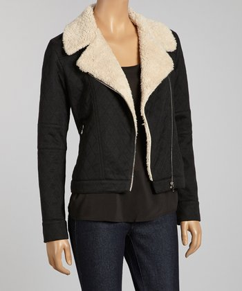 Black Faux Shearling Quilted Jacket