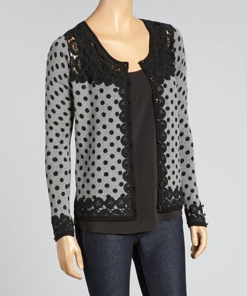 Black & Gray Crocheted Polka Dot Cardigan