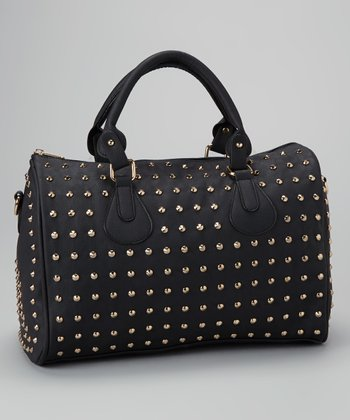 Black Studded Speedy Satchel