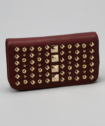 Oxblood Studded Wallet