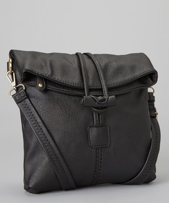 Black Toggle-Button Faux Leather Messenger Bag