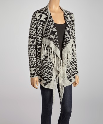 Gray Houndstooth Open Cardigan