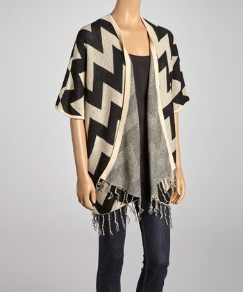 Black & Ivory Zigzag Open Cardigan
