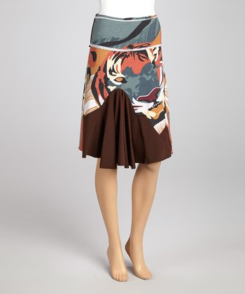 Brown & Blue Panel Peasant Skirt