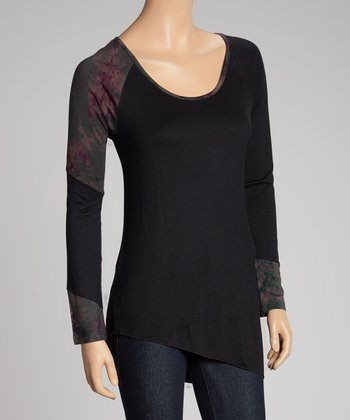 Black Patchwork Asymmetrical Top