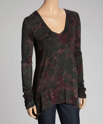 Black Tie-Dye Ruched Sidetail Top