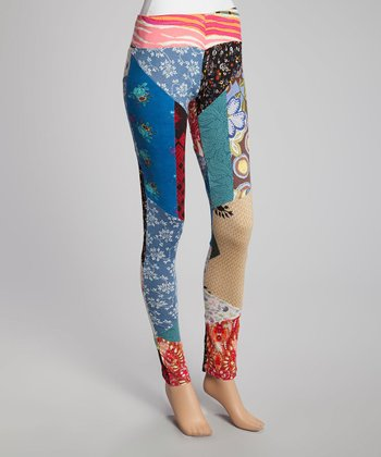 Blue & Red Patchwork Skinny Pants