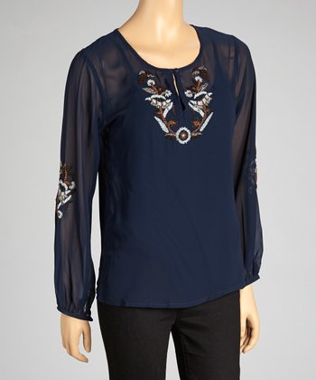 Blue Embroidered Layered Top