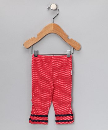 Red & White Polka Dot Leggings - Infant