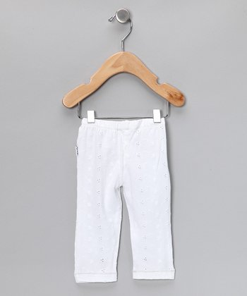 White Embroidered Pants - Infant
