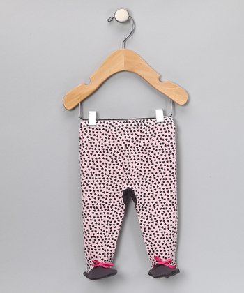 Brown Hearts Footie Pants - Infant