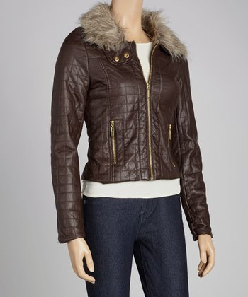 Brown Faux Fur Quilted Jacket