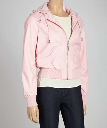 Pink Hooded Bomber Jacket