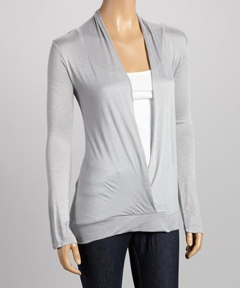 Silver Long-Sleeve Surplice Top